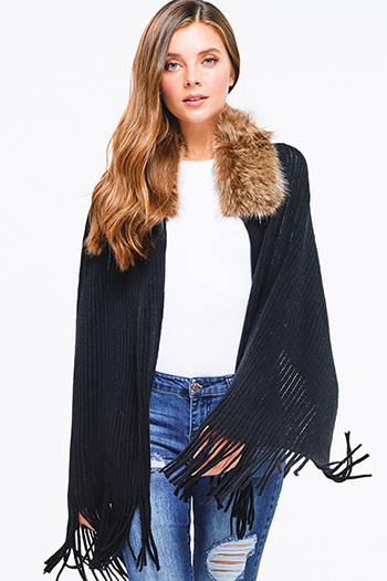 $20 - Cute cheap black draped boho cardigan - Black ribbed sweater knit fringe trim faux fur collar shawl cardigan poncho top
