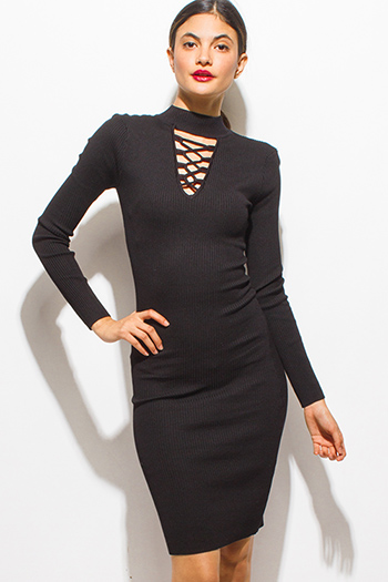$15 - Cute cheap black ribbed sweater knit long sleeve choker mock neck cut out caged bodycon fitted midi sexy club dress