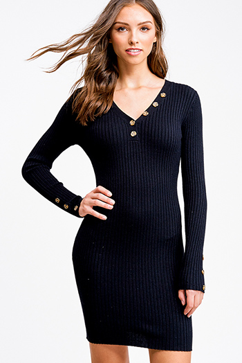 $25 - Cute cheap ruched sexy club mini dress - Black ribbed v neck button detail boho fitted bodycon sweater midi dress