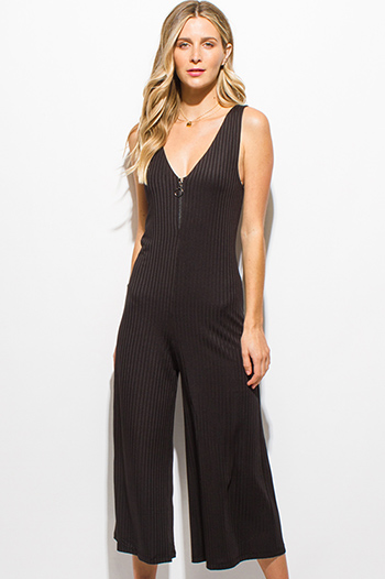 $15 - Cute cheap black caged sexy party jumpsuit - black ribbed v neck sleeveless zip up wide leg cropped jumpsuit