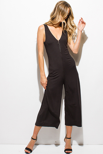 $12 - Cute cheap bustier jumpsuit - black ribbed v neck sleeveless zip up wide leg cropped jumpsuit
