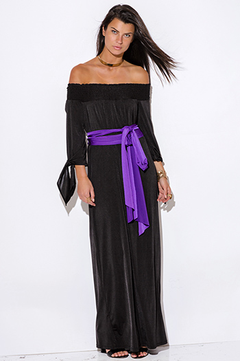 $15 - Cute cheap bejeweled evening sun dress - black sashed smocked off shoulder long sleeve formal evening sexy party maxi dress
