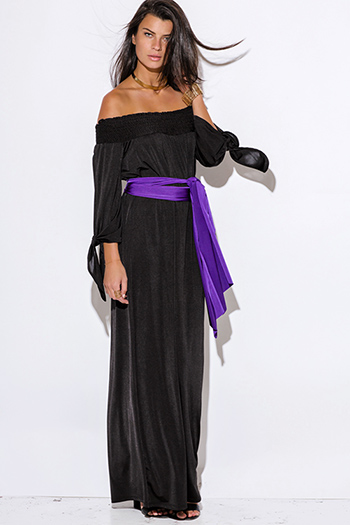 $11 - Cute cheap metallic slit dress - black sashed smocked off shoulder long sleeve formal evening sexy party maxi dress
