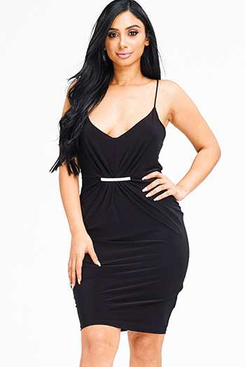 $15 - Cute cheap metallic slit dress - black ruched spaghetti strap racer back fitted sexy clubbing pencil mini dress