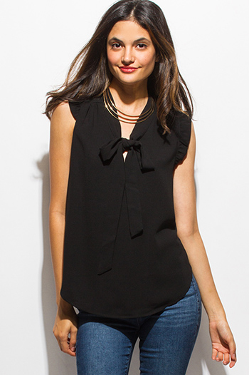 $15 - Cute cheap satin asymmetrical blouse - black ruffle bow tie sleeveless blouse top