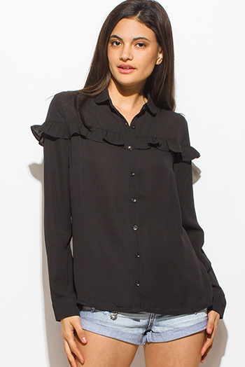 $15 - Cute cheap one shoulder boho top - black ruffle trim long sleeve boho button up blouse top