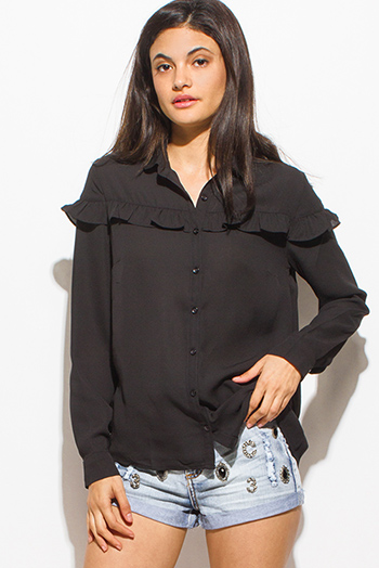 $15 - Cute cheap black denim ripped distressed mid rise cuffed crop boyfriend jeans - black ruffle trim long sleeve boho button up blouse top