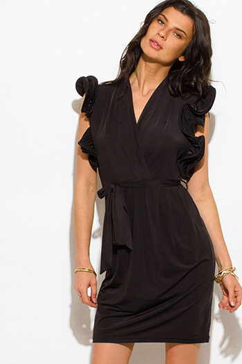 $20 - Cute cheap slit wrap dress - black ruffle trim wrap front sleeveless cocktail sexy party midi dress