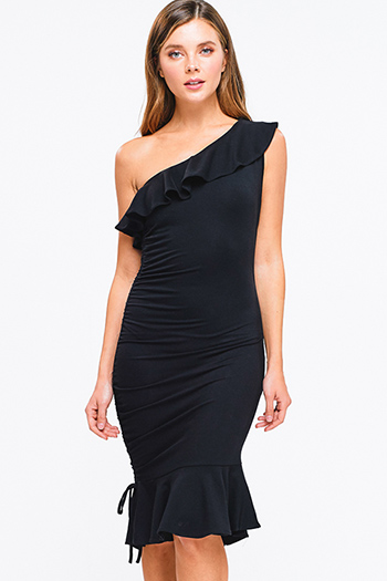 $20 - Cute cheap navy blue shift dress - Black ruffled one shoulder ruched mermaid fitted sexy club party midi dress