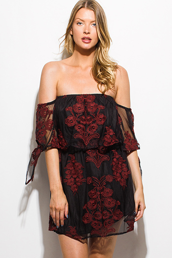 $10 - Cute cheap floral shift mini dress - black rust floral embroidered tan mesh off shoulder tie sleeve cocktail sexy party boho mini dress