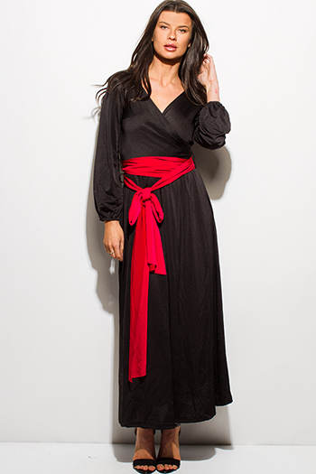 $12 - Cute cheap black long sleeve faux leather patch ribbed slub tee shirt top - black sash bow tie wrap deep v neck blouson long sleeve kimono evening maxi dress