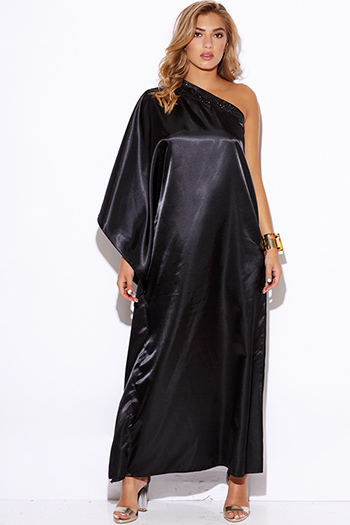 $15 - Cute cheap black fitted maxi dress - black satin bejeweled one shoulder kimono sleeve formal evening sexy party maxi dress