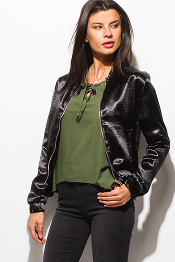 $20 - Cute cheap satin asymmetrical blouse - black satin long sleeve zip up pocketed bomber jacket