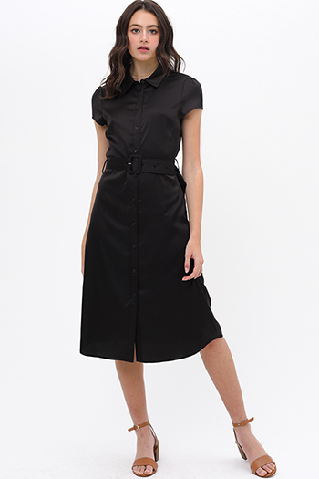 $32 - Cute cheap v neck sun dress - Black satin short sleeve belted button up boho midi shirt dress