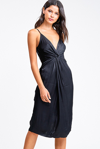 $12 - Cute cheap ruched sexy party dress - Black satin sleeveless v neck twist front cocktail party midi dress