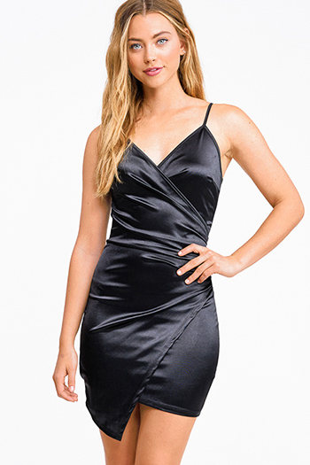 $25 - Cute cheap long sleeve sexy club dress - Black satin v neck faux wrap ruched bodycon cocktail party club mini dress
