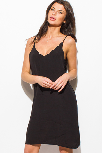 $15 - Cute cheap shift party mini dress - black scallop v neck spaghetti strap cut out back sexy club shift mini dress