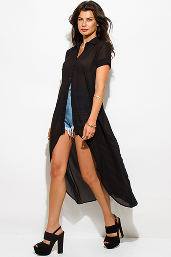 $20 - Cute cheap neon tunic - black semi sheer chiffon button up high low hem tunic top shirt dress
