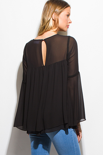 $15 - Cute cheap boho - black semi sheer chiffon long bell sleeve keyhole cut out back boho blouse top