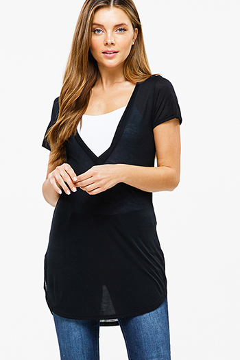 $15 - Cute cheap black pinstripe collarless short cuffed cap sleeve zip up blouse top - Black semi sheer deep v neck short sleeve round hem tunic top