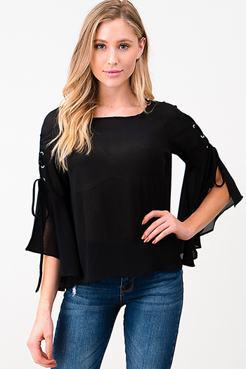 $15 - Cute cheap floral sexy party blouse - Black semi sheer laceup slit angel tie bell sleeve blouse top