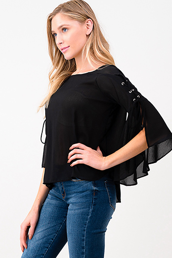 $15 - Cute cheap black floral print cut out mock v neck long trumpet bell sleeve boho blouse top - Black semi sheer laceup slit angel tie bell sleeve blouse top