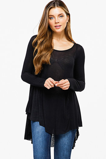 $15 - Cute cheap black laceup front faux flap pocket long sleeve boho blouse top - Black semi sheer long sleeve round neck high low hem boho top