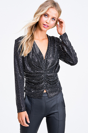 $35 - Cute cheap crochet long sleeve sweater - Black sequin long sleeve ruched evening cocktail party sexy club top