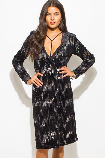 $15 - Cute cheap black floral print faux wrap quarter sleeve mini shirt dress - black sequined faux fur long sleeve bejeweled duster dress coat jacket