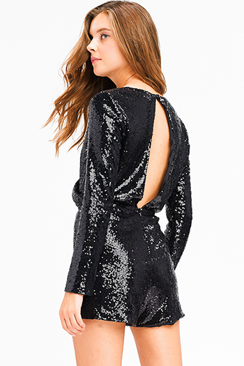 $25 - Cute cheap yellow black floral print sheer mesh off shoulder long trumpet bell sleeve crop top - Black sequined metallic long sleeve faux wrap cut out back sexy club party romper playsuit jumpsuit