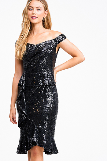 $18 - Cute cheap ribbed slit sexy club dress - Black sequin off shoulder peplum ruffled pencil fitted cocktail party midi dress