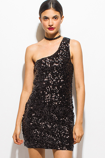 $15 - Cute cheap pink fitted cocktail dress - black sequined one shoulder bodycon fitted sexy club party mini dress