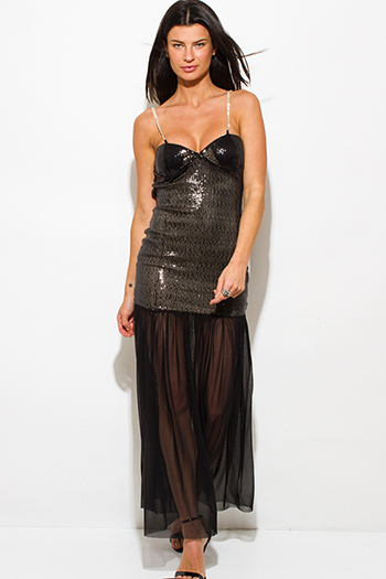 $20 - Cute cheap v neck slit sexy party maxi dress - black sequined sheer mesh backless bejeweled formal evening cocktail party maxi dress