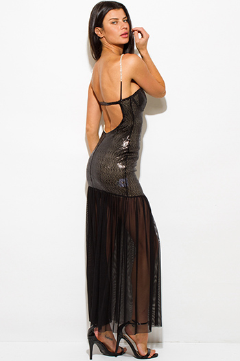 $12 - Cute cheap dark charcoal gray side see through mesh panel fitness yoga leggings - black sequined sheer mesh backless bejeweled formal evening cocktail sexy party maxi dress
