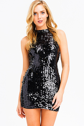 $20 - Cute cheap print sheer evening dress - Black sequined sleeveless mock neck racer back cocktail party sexy club mini dress