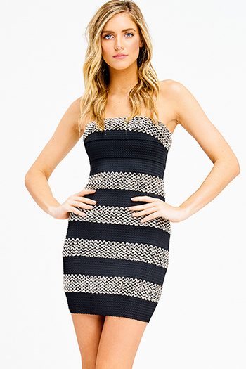 $15 - Cute cheap cold shoulder party dress - black sequined striped strapless sexy bodycon fitted sexy club bandage mini dress