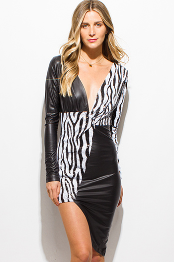 $10 - Cute cheap fitted cocktail mini dress - black sequined vegan leather color block low v neck long sleeve asymmetrical hem bodycon fitted sexy club mini dress