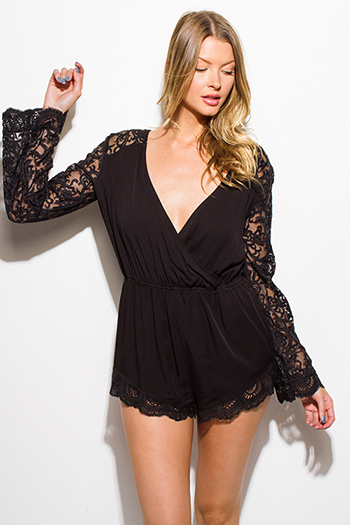 $15 - Cute cheap black floral crochet boho resort high waisted shorts - black sheer crochet lace long bell sleeve faux wrap scallop hem boho romper playsuit jumpsuit