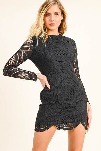$15 - Cute cheap ruched fitted dress - Black sheer crochet lace long sleeve zip up scallop hem sexy party mini dress