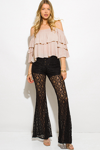 $10 - Cute cheap black sheer lace eyelet laceup back dolman sleeve blouse top - black sheer floral polka dot lace mesh laceup scallop hem boho wide flare leg pants