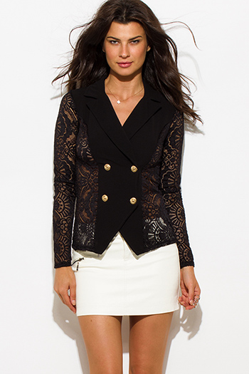 $20 - Cute cheap black lace bodysuit - black sheer lace double breasted golden button blazer jacket top