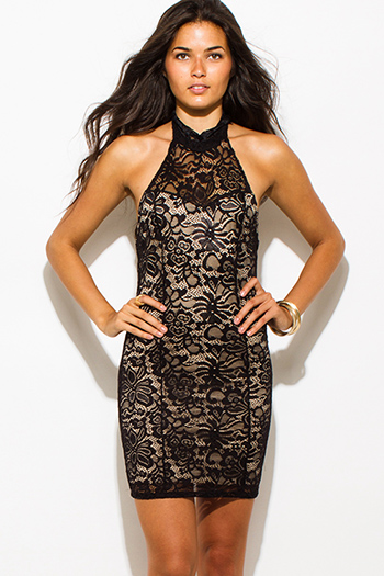 $15 - Cute cheap black crochet lace contrast strapless bodycon fitted sexy clubbing mini dress - black sheer lace overlay high halter neck backless bodycon fitted mini club dress