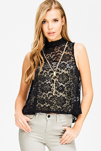 $12 - Cute cheap black denim skinny jeans - black sheer lace sleeveless mock neck chain necklace crop top