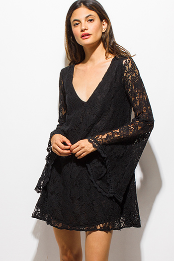 $15 - Cute cheap black ruffle sun dress - black sheer lace v neck long bell sleeve cut out back boho sexy party mini dress