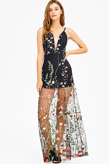 $35 - Cute cheap white floral print sleeveless sheer mesh lined side slit boho midi sun dress - black sheer mesh floral embroidered deep v neck formal evening maxi dress