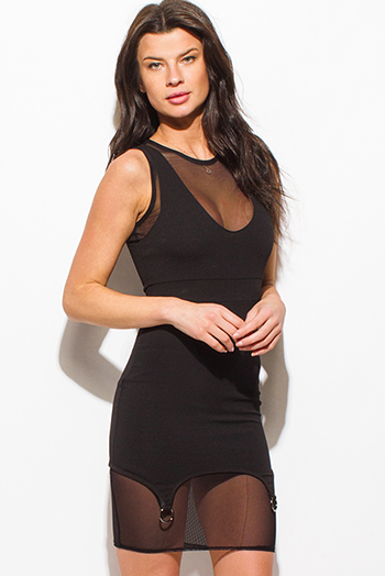 $15 - Cute cheap black side see through mesh panel fitness yoga leggings - black sheer mesh sleeveless silver hoop scallop hem bodycon fitted sexy club mini dress