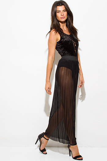 $10 - Cute cheap mesh sheer sexy party catsuit - black sheer mesh tulle banded pleated evening party maxi skirt