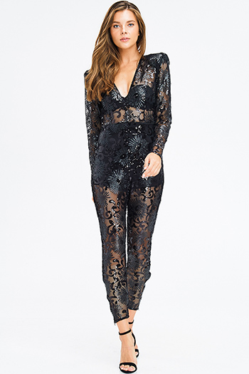 $25 - Cute cheap black denim jeans - black sheer sequined v neck power shoulder long sleeve harem fitted evening sexy club jumpsuit