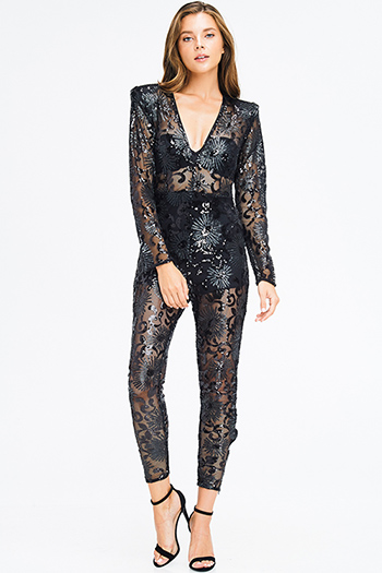 $25 - Cute cheap open back fitted bodycon catsuit - black sheer sequined v neck power shoulder long sleeve harem fitted evening sexy club jumpsuit