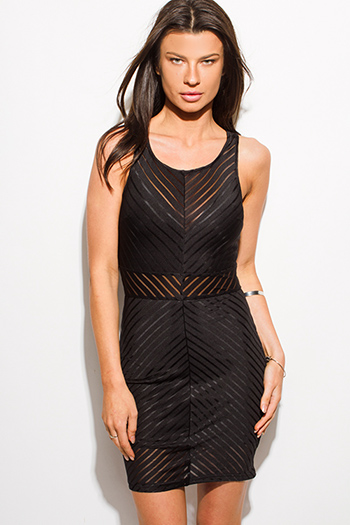 $15 - Cute cheap v neck fitted sexy club mini dress - black sheer stripe mesh sleeveless bodycon fitted pencil club mini dress